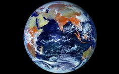 """Eclipsing NASA's updated """"Blue Marble"""" shot, which is a composite of many satellite images, this image is a single-shot taken from 22,369 miles away by Russian weather satellite Elektro-L No.1.    The colors on the 121-megapixel photo are quite different from the ones on NASA's photos of Earth. To capture the image, the satellite combines visible and infrared wavelengths of light. Infrared light is used to see plants, which is why the parts of the Earth that would normally be green are…"""