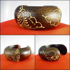 Wood Bangle Bracelet Hand Painted by SimplyWorldJewelry