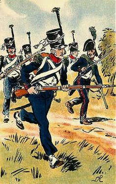 French Army First Empire Uniforms 1805 Light Infantry Vintage Postcard
