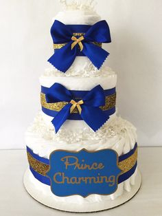 Prince Charming Diaper Cake in Royal Blue and by AllDiaperCakes