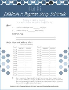 Tired of being tired? Use this printable to help establish a regular sleep schedule, and consistently get a good night's rest EVERY evening. Your productivity will skyrocket with the structure of this new routine!