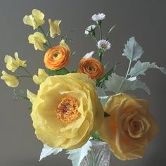 Yellow Crepe Paper Bouquet: Peony Tea Rose by NectarHollow on Etsy