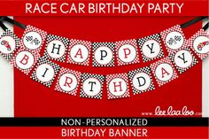 Race Car Birthday Party - Banner (Happy Birthday) NonPersonalized Printable // Vintage Race Car - B1Ni on Etsy, $7.00