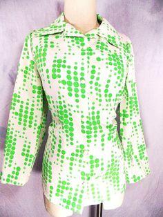 MOD Blouse Sz M Polka Dot Shirt Vtg 70s Polyester Green Retro Top
