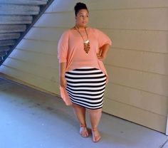 This peach top could look good in a different colour and slightly longer at the front! I would have used a block colour pin skirt.
