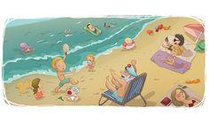 EDUCATIONAL BOOKS - Ester Garay, ilustradora #illustration #ilustracion #educational #book #infantil #childrenbook #children #read #libro #texto #beautiful #color #tender #lectura #drawing #dibujo #playa #beach #summer #verano #people #gente #sea #mar