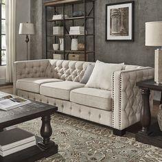 Knightsbridge Beige Linen Tufted Fabric Nailhead Sofa by SIGNAL HILLS