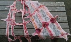 """Delicate Nuno Felted Lattice Scarf """"Roses"""" by Samca Designs, Wearable Art, OOAK, Wet Felted, Silk Scarf, Nuno Felting, Mother of the Bride"""