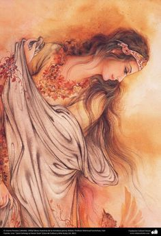 The same Paradise (detail) 1993 Mahmud Farshchian, Irán. Indian Art Paintings, Fantasy Paintings, Art Optical, Persian Culture, Iranian Art, Goddess Art, Islamic Art, Female Art, Art Images