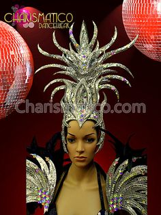 Charismatico Dancewear Store - CHARISMATICO Showgirl or Drag Queen's Black and Silver Headdress and Matching Collar, $235.00 (http://www.charismatico-dancewear.com/charismatico-showgirl-or-drag-queens-black-and-silver-headdress-and-matching-collar/)
