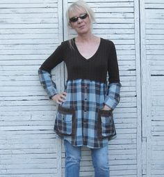 Reserved Brown and Aqua Tunic Upcycled Tunic by AnikaDesigns, $48.00: