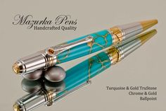Turquoise and Gold Ballpoint Pen with a Chrome / Gold Art Deco finish make a great combination.
