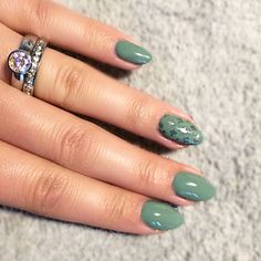 Cnd shellac sage scarf with nail stamping. And melano ring