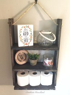 Rustic Wood Shelf,Rustic Bathroom Shelf, Wood Rope Shelf, Bathroom Shelf,  Kitchen Shelf, Spice Rack, Wood Shelf