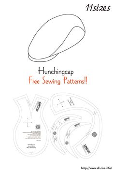 This is the pattern of a Hunchingcap. Hat Patterns To Sew, Doll Clothes Patterns, Sewing Patterns Free, Free Sewing, Sewing Clothes, Clothing Patterns, Leather Bag Pattern, Sewing Dolls, Sewing Accessories