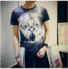 Men's 3 D Summer Deer With Crown Print T Shirt