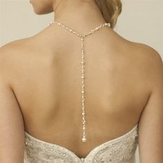 Pearl and Crystal Cascading Back Necklace