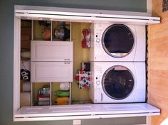 Laundry closet upgrade! Good use of a small space