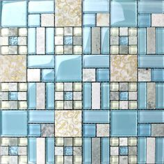 Sky Blue Glass Tile Backsplash, Small Yellow-Green Glass Mosaic, Cream Stone Tiles with Gold Patterns - Kitchen, Bathroom and Accent Walls Glass Tile Backsplash, Herringbone Backsplash, Kitchen Backsplash, Wall Tiles, Marble Wall, Backsplash Ideas, Tile Ideas, Beadboard Backsplash, Stone Backsplash