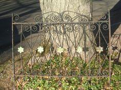 antique ornate iron gate  green flower centers iron black window guard  garden fence by StinkyTinkysTreasure on Etsy