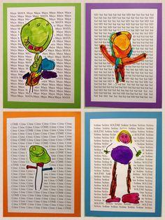 leuk als verjaardagskalender aan het begin van het schooljaar.Achtergrondblad is hélemaal gevuld met de naam van het kind. Daarop komt dan een een menstekening van het kind zelf.
