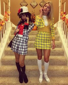 56 Impressive Halloween Costume Ideas Perfect For A College Party - Partner Halloween Costumes, Cute Costumes, Halloween Outfits, Bff Costume Ideas, Halloween Makeup, Zombie Makeup, Halloween Costumes For Bestfriends, Cher Clueless Halloween Costume, Best Duo Costumes