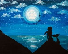Paint Nite Moonlit Mermaid II Painting