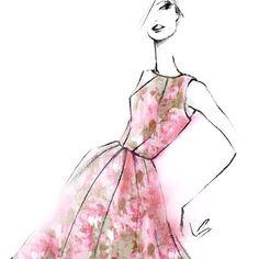 "A fashion illustration by designer, Matthew Williamson of a model wearing his spring organza rose dress in pink. ""New organza rose dress for spring #sketch #illustration #dress """