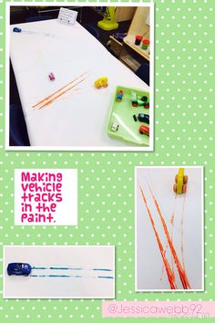 Making paint tracks with the vehicles. Class Activities, Creative Activities, Transport Topics, Finger Gym, People Who Help Us, Foundation Stage, Creative Area, Writing Area, Messy Play