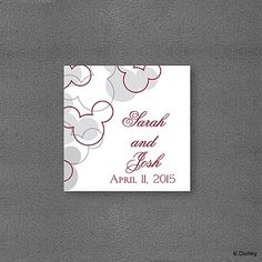 Mickey's Love Favor Tag This shimmery favor tag features silhouettes of Mickey Mouse ears in red and grey with your first names and date printed on the right side. Add this favor tag to any favor or gift for a special touch.