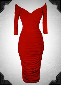 Monica Dress in Red By Laura Byrnes Black Label. This dress really is the ultimate Pinup wiggle dress!
