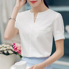 2017 chiffon shirt female summer all-match V-neck short-sleeve fashion shirt