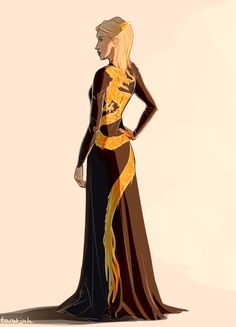 The gorgeous dress Aelin wore in Queen of Shadows  Art by taratjah