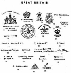 Pottery & Porcelain Marks - Great Britain - Pg. 3 of 38 Burslem (Cont'd) 12-14 A. J. Wilkinson. 13,14 are late 19th century marks. 15 Wood & Barker, Ltd. Late 19th century factory. 16 Wood & Caldwell1790-1818 17,18 Enoch Wood & Sons. 1818-1846 19 Wood & Son. Late 19th century 20 Ralph Wood. Before 1797 21, 22 Late 18th century marks 24,25 1770-1795 26 1795+ 27 1830 28 John Walton 1790-1839 29 About 1800 30 From 1850 32 An impressed mark used from 1800 to 1819. 33 From 1819, 35 About…