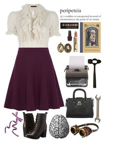 """Violet Baudelaire"" by fandom-fashion1 ❤ liked on Polyvore featuring Ralph Lauren, Halston Heritage, Steve Madden, Forever 21, OPI, pretty, books, aseriesofunfortunateevents and violetbaudelaire"
