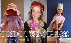 """Do your kids love dressing up? Do you go with store bought costumes or ditch the Disney and let them create their own style? Tips here for dressing up play ideas - what would you add? We love dressing up here!!  Going to start """"making """" there dress up clothes and rotate... And going start to a theme dramatic play with props..."""