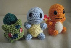 Pokemon Charmander, Squirtle, Bulbasaur Amigurumi by ~ChibiSayuriEtsy on deviantART