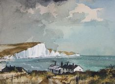 Rowland Hilder, Seven Sisters, watercolour, signed, x 33 cm x 13 in. Watercolor Painting Techniques, Watercolor Landscape Paintings, Watercolor And Ink, Landscape Art, Auction, England, Watercolours, Artist, Sisters