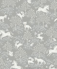 Tapet Farytale fox Littlephant's non-woven wallpaper produced in Sweden together with Ulricehamn's wallpaper factory. Easy to wallpaper - glue directly to the wall. Vinyl Floor Mat, Vinyl Flooring, Floor Mats, Dusty Blue, Playroom Wallpaper, Rabbit Wallpaper, Mood Board Interior, Rustic Nursery, Animal Nursery
