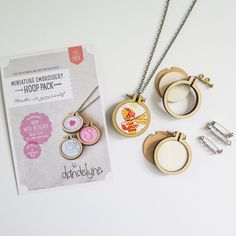 "1.6"" Mini Embroidery Hoop Necklace and Brooch Kit (3 Pack)"