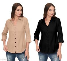 Checkout this latest Shirts Product Name: *Fashionable Contemporary Women's Polyester Solid Women's Shirts(Pack Of 2)* Fabric: Polyester Sleeve Length: Three-Quarter Sleeves Pattern: Solid Multipack: 2 Sizes: S, M, L, XL Country of Origin: India Easy Returns Available In Case Of Any Issue   Catalog Rating: ★3.8 (293)  Catalog Name: Fashionable Contemporary Women's Polyester Solid Women's Shirts Combo CatalogID_446822 C79-SC1022 Code: 405-3240586-1131