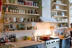Cool open shelving kitchen apartment therapy that will blow your mind Open Kitchen Cabinets, Kitchen Cabinet Shelves, Diy Cabinets, Country Kitchen, New Kitchen, Kitchen Decor, Kitchen Ideas, Apartment Therapy, Ikea