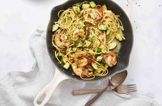 Pasta plus garlic, shrimp, zucchini and wine equals everything you could possibly ever need (or want). Click through for this and other easy and delicious shrimp recipes you'll love.