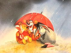 Rainy day with Winnie the Pooh, Tigger, Eeyore, and Piglet