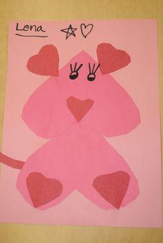 Kindergarten Valentine Craft - puppy made out of hearts
