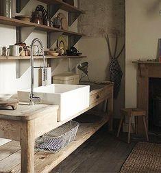 Farm sink wooden kitchen