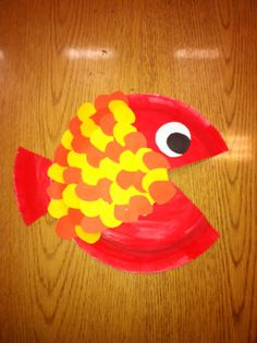 Warm Color Fish (Cool color in separate photo): 1st Grade art project. Very simple. We used paper plates, construction and tempera paint cakes!