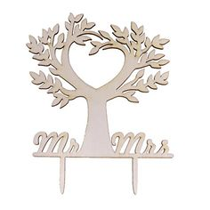 MagiDeal Romantic Cake Decorating Big Tree mr and mrs Wood Cake Topper Wedding Favor