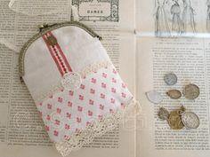 Old linen purse chantal sabatier