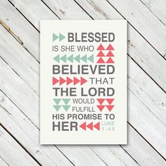 """Luke 1:45 Blessed is She Canvas - 12"""" x 16"""""""